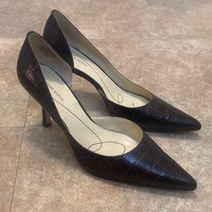 Anne Klein AK Leather Brown Heels Size 7.5 M